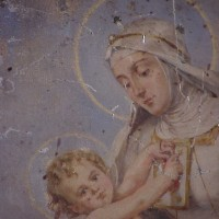 Madonna and child painting on silver with scratches and losses