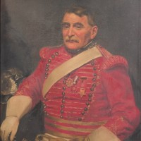 Portrait of Military Bugler before treatment for fire damage