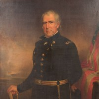 Portrait of Zachary Taylor before cleaning
