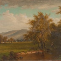 Hudson River School painting with old repair