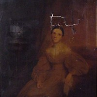 19th Century Portrait with heavy discoloration and damage