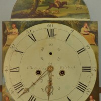 Clock face for tall case clock before cleaning